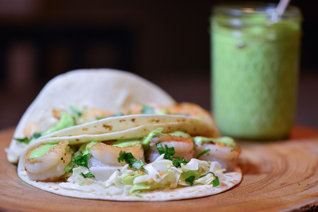 shrimp tacos with lime cilantro sauce (1 of 2)